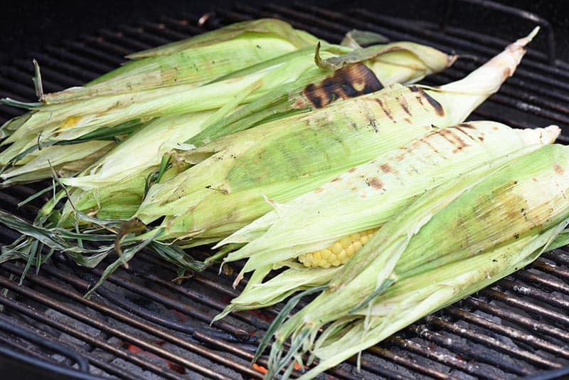 grilled sweet corn in the husk on a charcoal grill