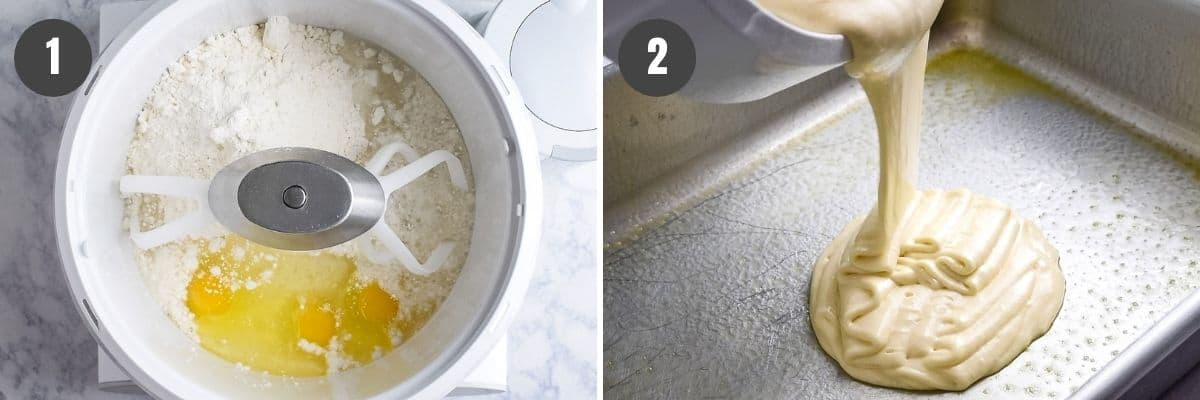 mixing ingredients for cake batter in mixer and pouring batter into greased cake pan