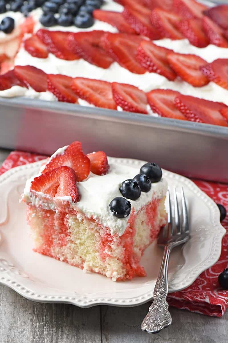 slice of strawberry Jello cake