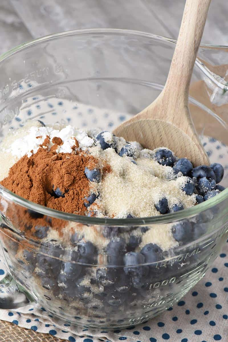 blueberries, sugar, and other ingredients in mixing bowl for recipe for blueberry cobbler