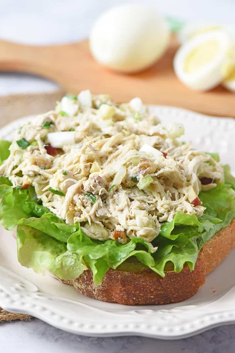 open-faced chicken salad sandwich recipe with hard boiled eggs