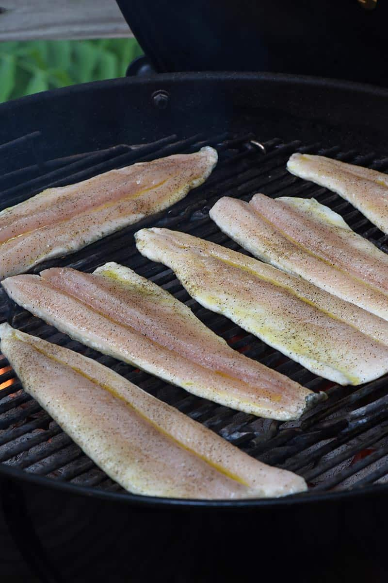 grill trout fillets on a charcoal grill