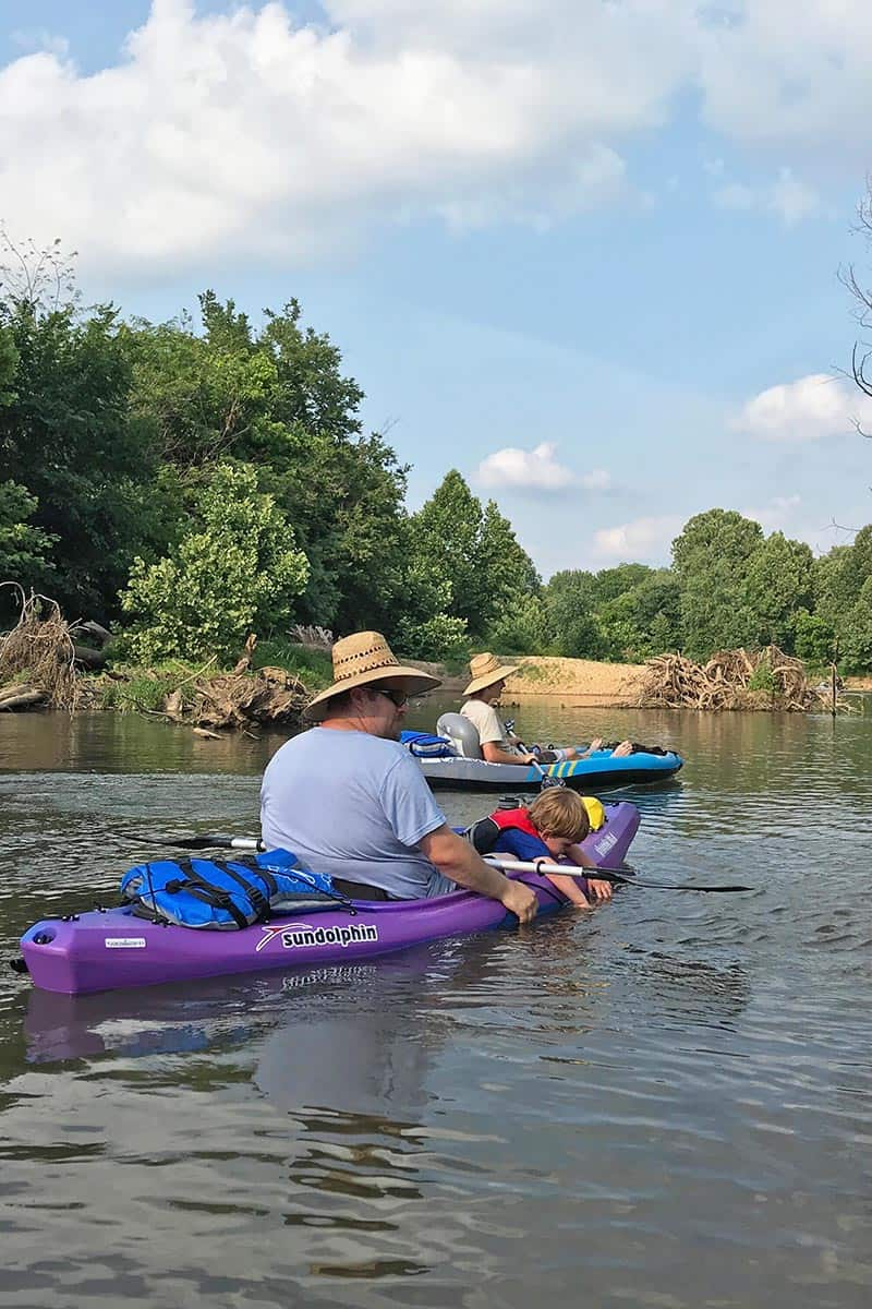 kayaking with kids on the illinois River in a Sun Dolphin kayak