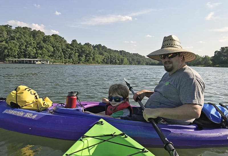 kayaking with a toddler on Beaver Lake in Arkansas