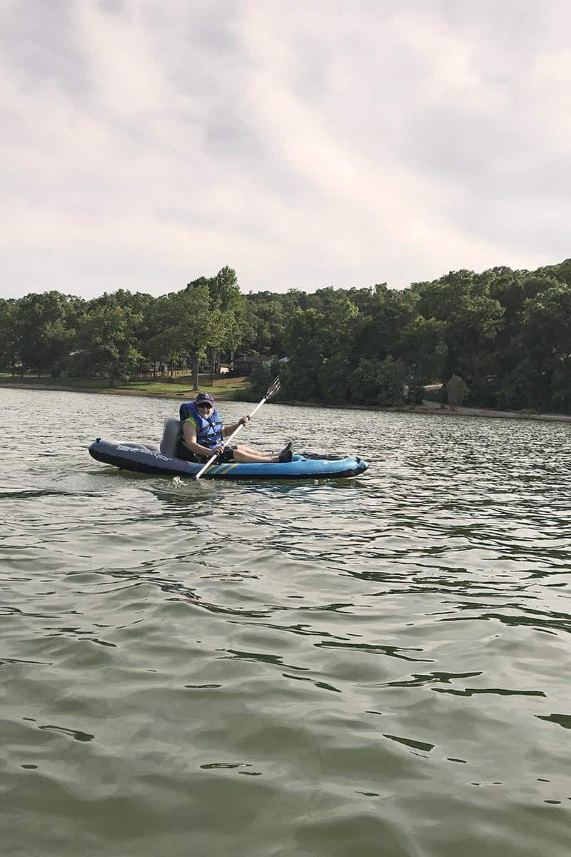 kayaking with kids on Beaver Lake in Northwest Arkansas near Prairie Creek