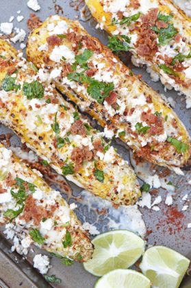 Mexican Corn on the Cob with Bacon