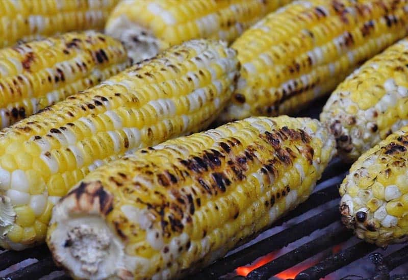 slightly charred grilled corn on the cob for Mexican corn recipe