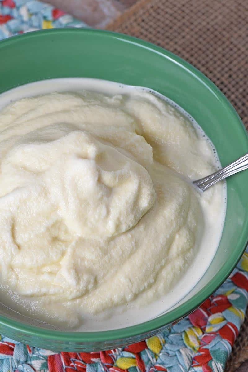 homemade vanilla ice cream recipe in green pioneer woman bowl