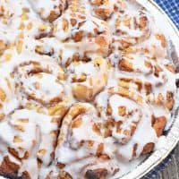 easy cinnamon rolls in foil pie plate for camping
