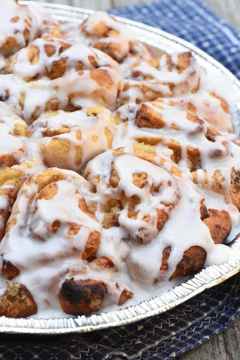 Dutch oven cinnamon rolls made with Pioneer mix