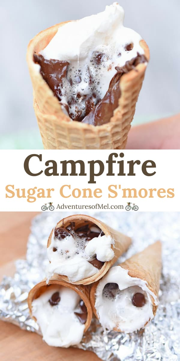 Camping recipe for sugar cone s'mores