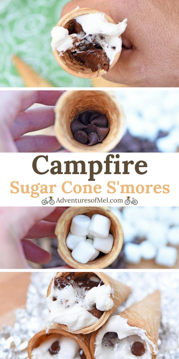 step by step camping recipe for campfire cones s'mores
