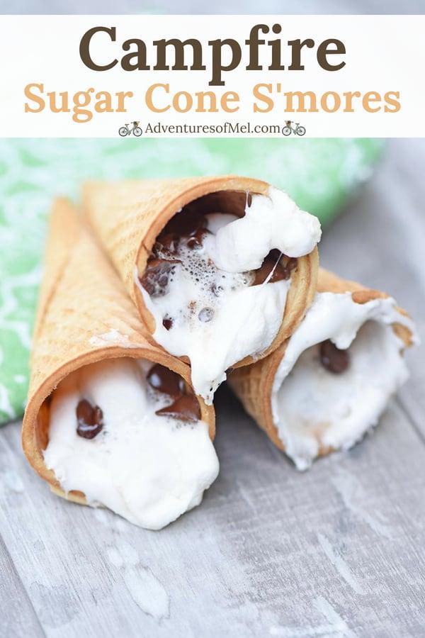 camping dessert recipe for s'mores cones