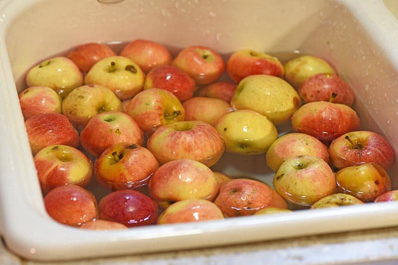 washing seconds apples in the sink for apple juice recipe