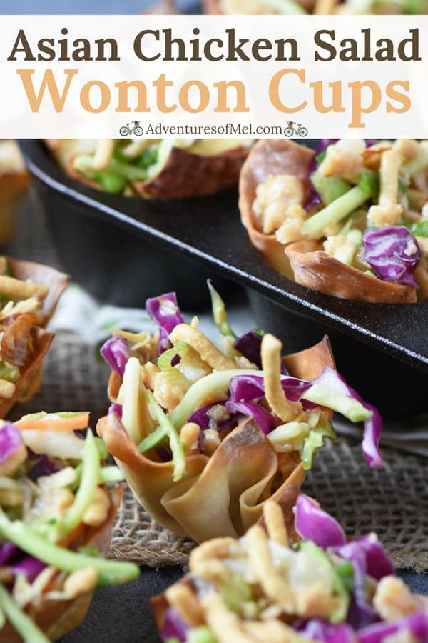 yummy Asian chicken salad in crunchy wonton cups, perfect party appetizer