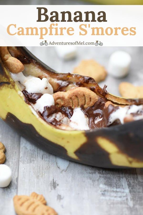 yummy camping dessert, banana boats s'mores