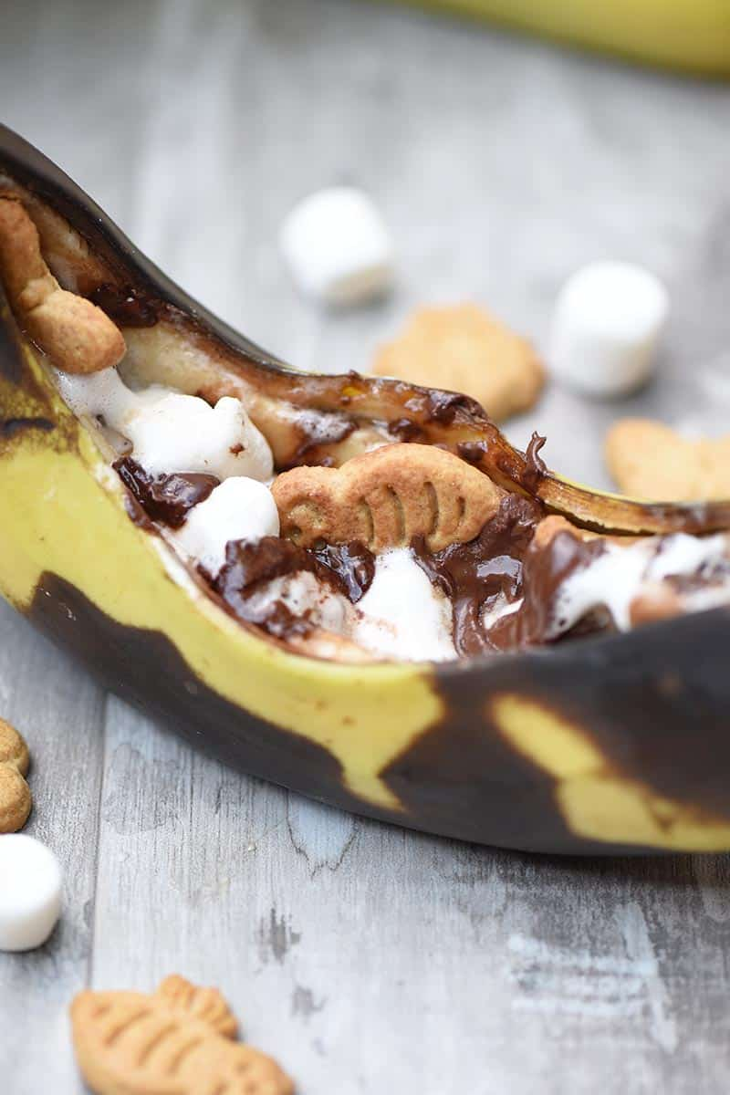 how to make s'mores in a banana, ooey gooey campfire recipes