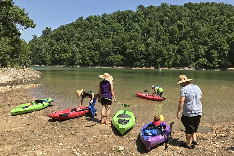 launching kayaks off Van Hollow Road on Beaver Lake in Northwest Arkansas