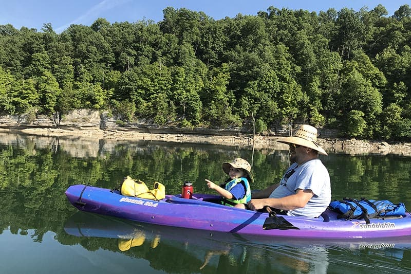 kayaking with kids on Beaver Lake in Arkansas