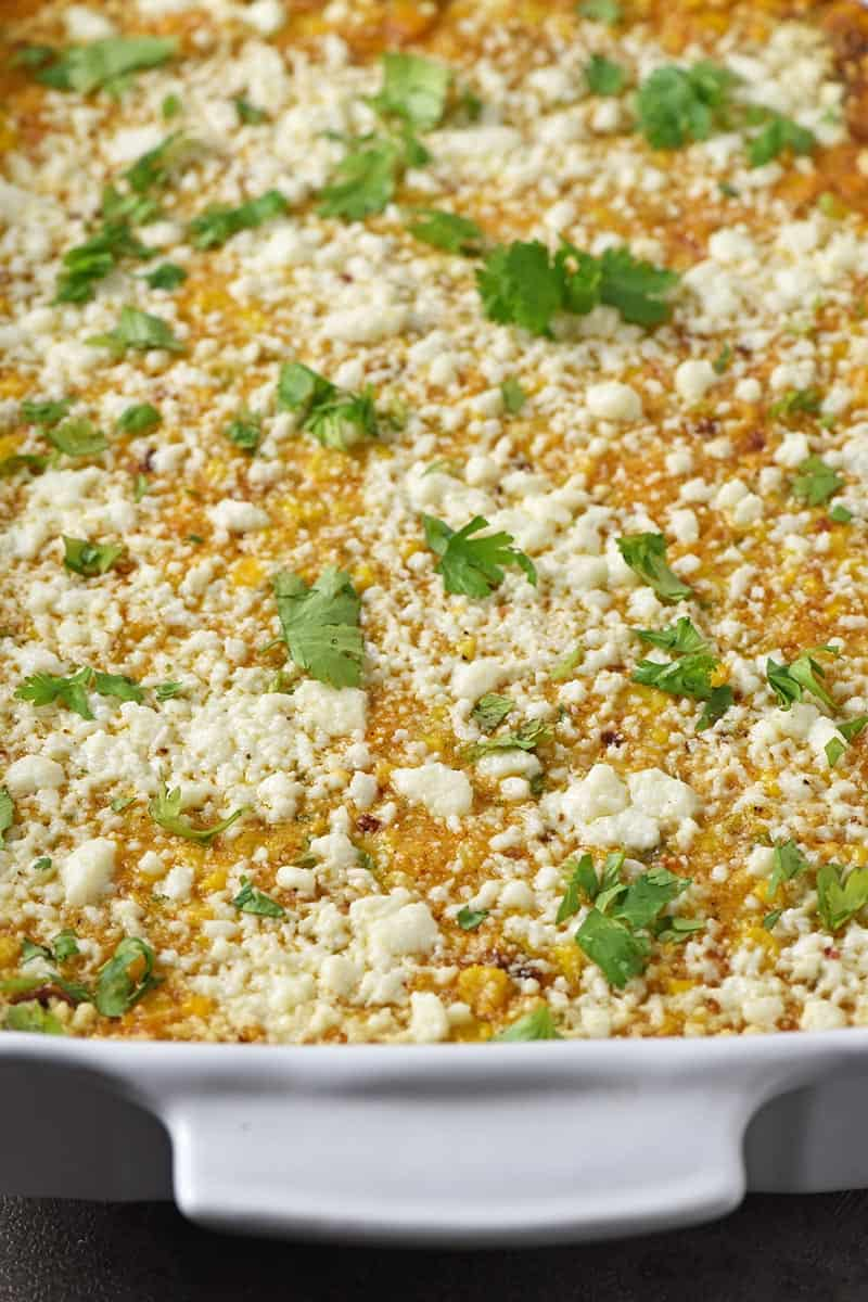 Mexican corn casserole with Cotija cheese crumbled on top