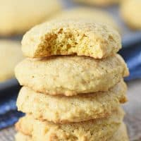 stack of soft pumpkin sugar cookies, made from scratch