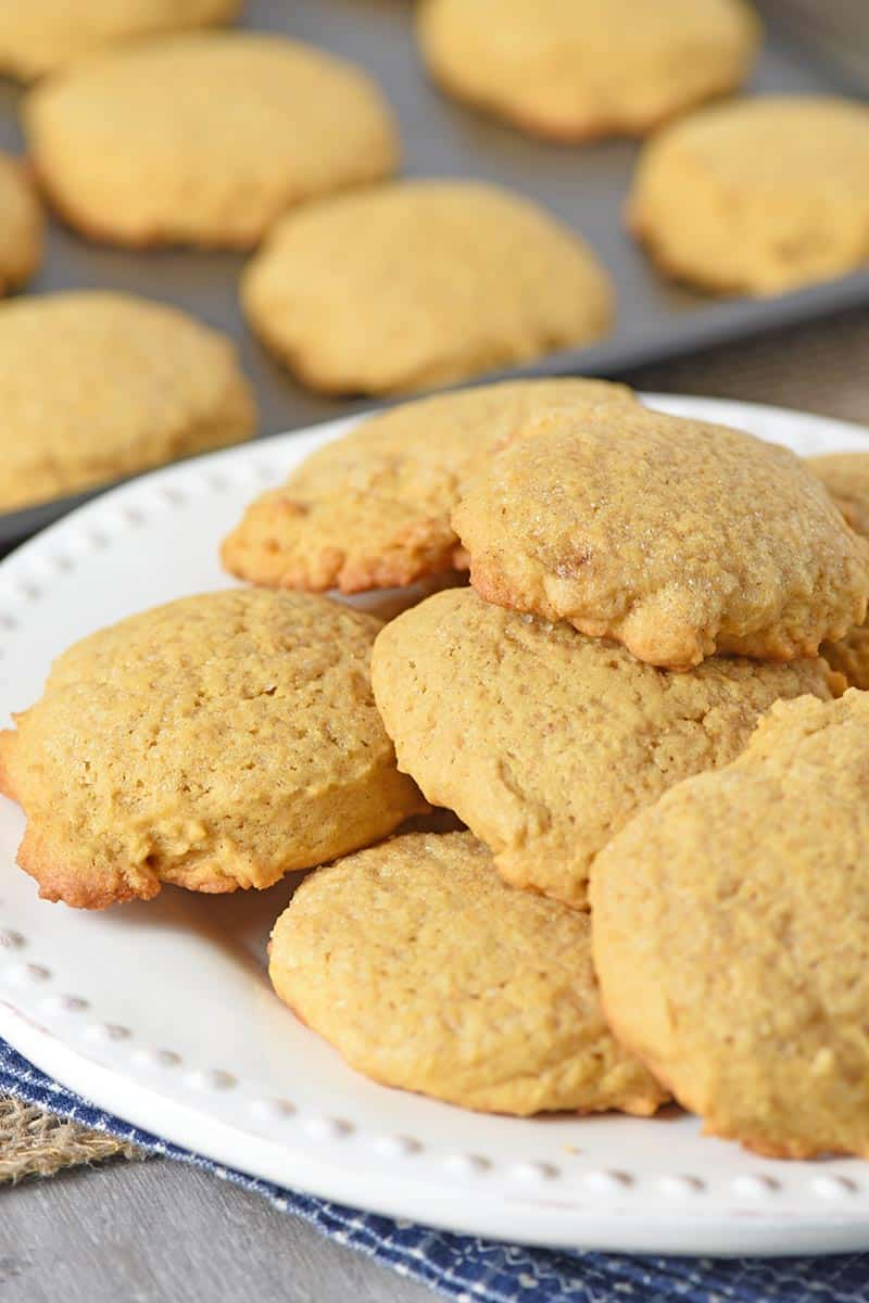 pumpkin cookies on a white plate