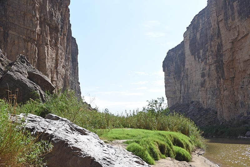 riverbank and vegetation along Santa Elena Canyon Trail in Big Bend