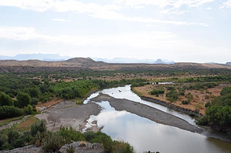 view of Big Bend National Park, the Rio Grande River, and Mexico, from on top of Santa Elena Canyon Trail