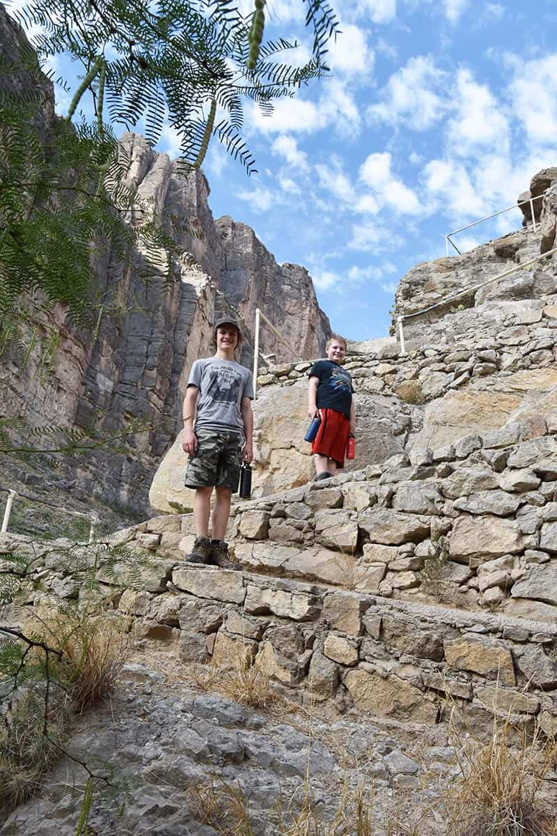 hiking with kids up through Santa Elena Canyon Trail