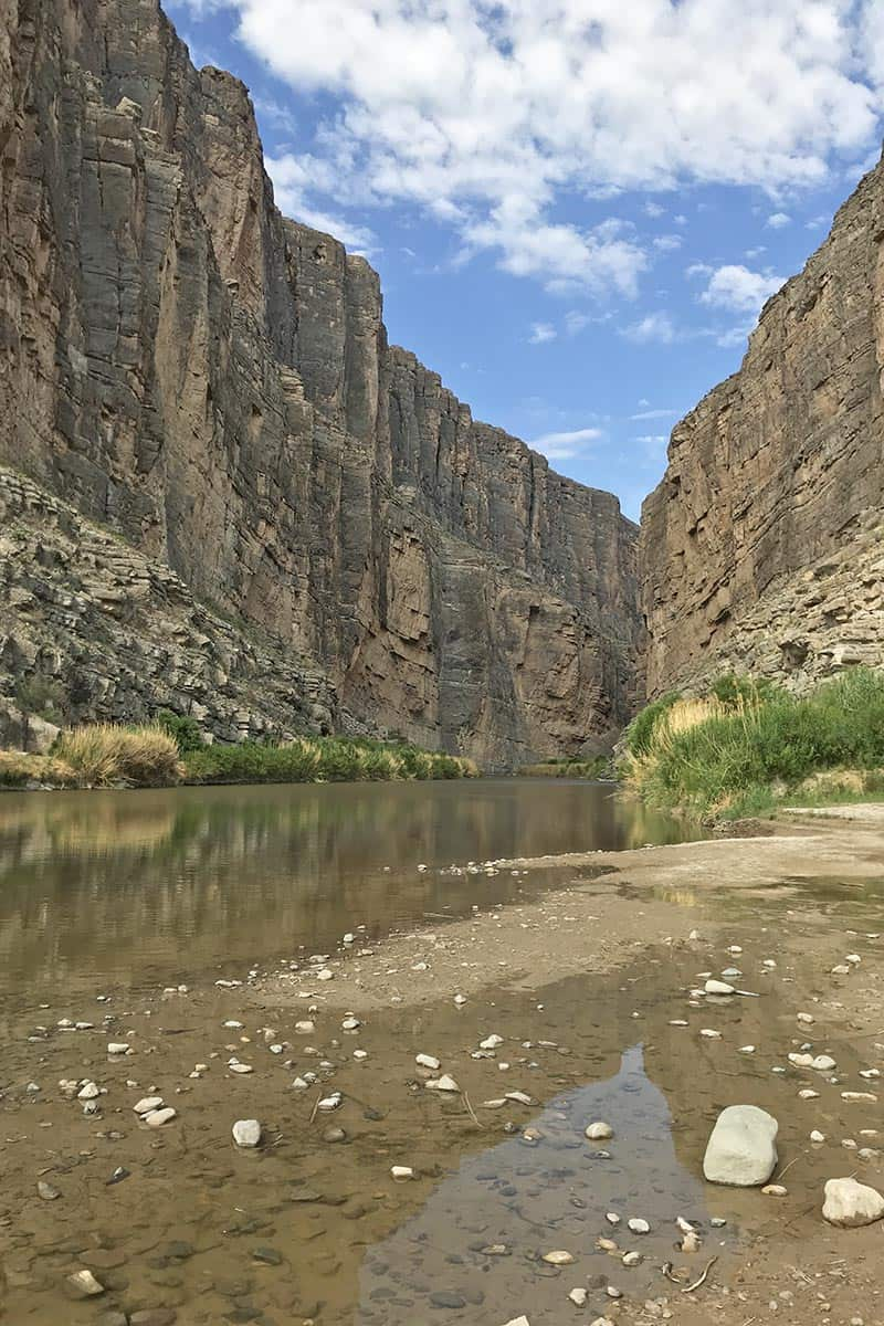 mouth of Santa Elena Canyon with the Rio Grande River in Big Bend National Park in Texas