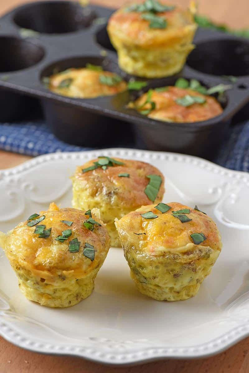 sausage egg muffins on a white plate