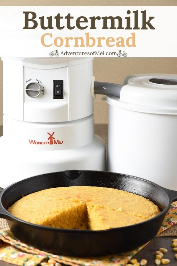 WonderMill grain mill makes it easy to make homemade cornmeal for the most delicious buttermilk cornbread from scratch.