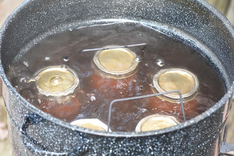 jars of homemade applesauce immersed in hot water bath for canning