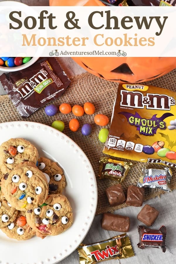 Chewy monster cookies recipe made with M&M's candies and SNICKERS candies