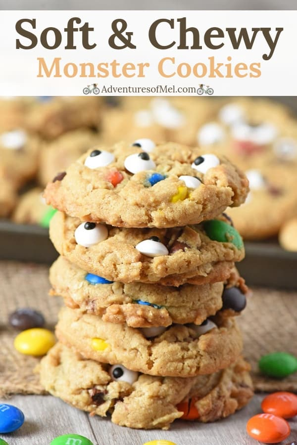 Soft and chewy monster cookies recipe made with M&M'S candies