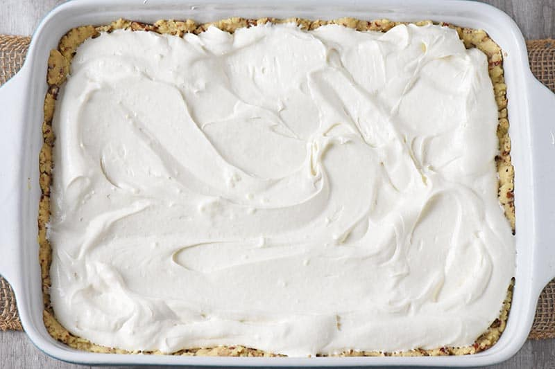 Dream Whip layer in no bake pumpkin dessert recipe