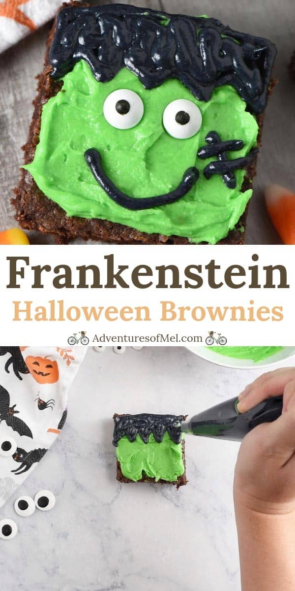 Frankenstein decorated Halloween brownies with candy corn