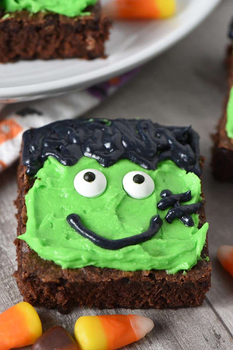 decorated Halloween treats, Frankenstein Halloween Brownies