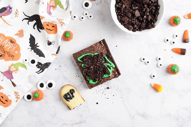 making Milano Cookies gravestones for spooky graveyard halloween brownies halloween treats for kids