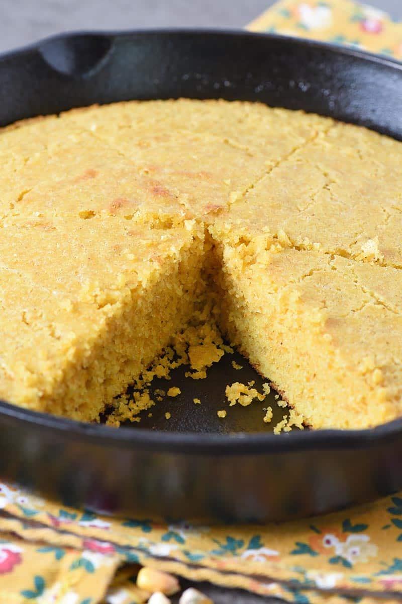 homemade buttermilk cornbread baked in cast iron skillet