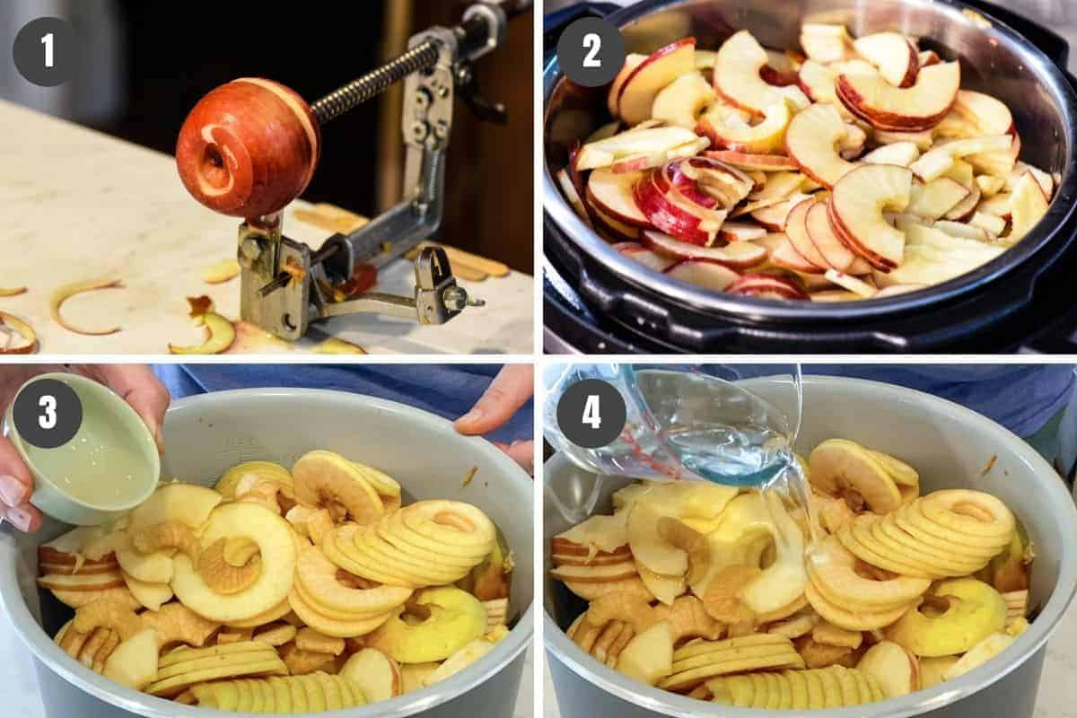 how to make applesauce in the Instant Pot, including slicing apples with Johnny apple peeler, putting apples in Instant Pot, then adding lemon juice and water