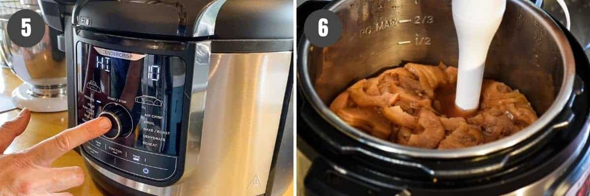 how to make pressure cooker applesauce in Ninja Foodi, then mashing cooked apples with immersion blender