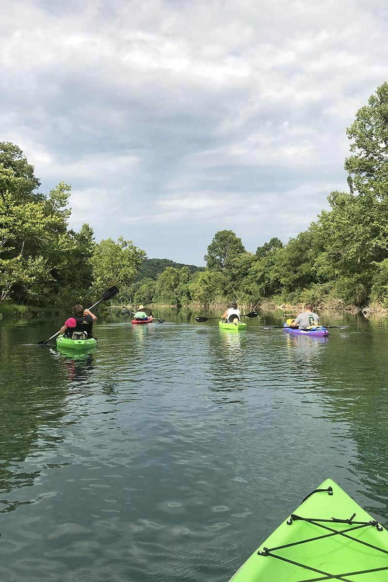 family kayaking the Jacks Fork River from Alley Spring to Eminence, Missouri
