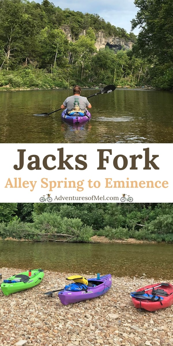 float the Jacks Fork River in a kayak from Alley Spring to Eminence