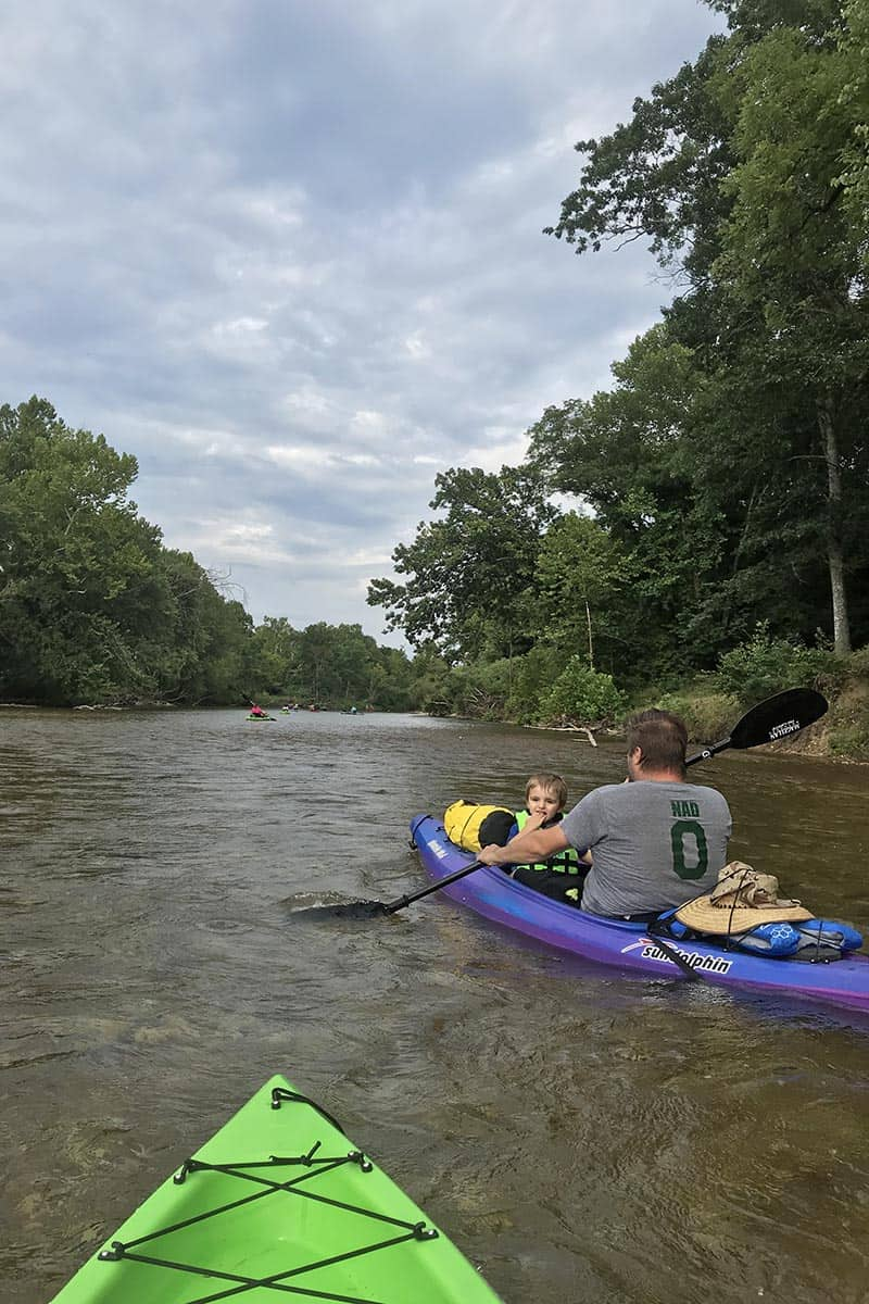 kayaking with a toddler on the Jacks Fork River in Missouri