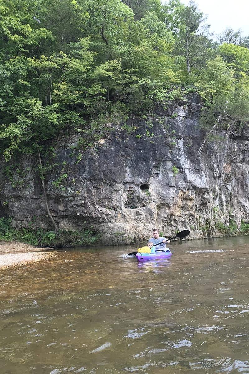paddling through small rapids on the Jacks Fork River, Missouri