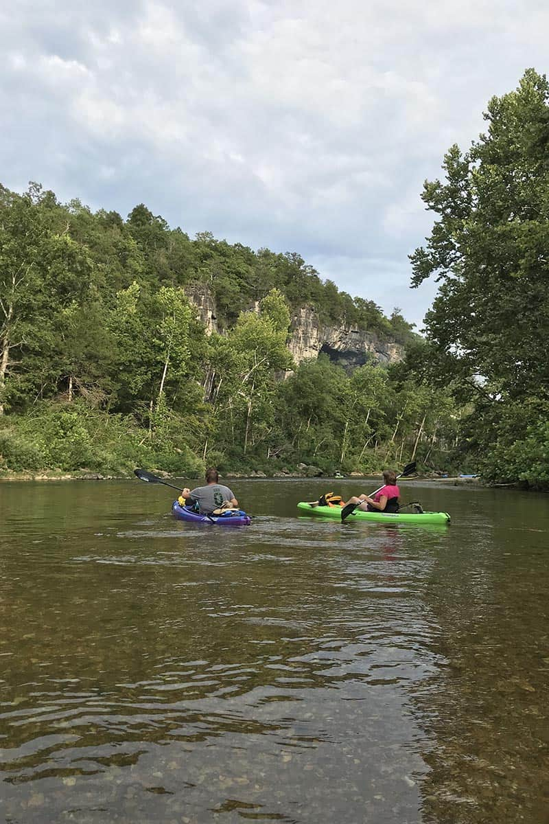 bluff cavern overlooking Jacks Fork River, part of the Ozark National Scenic Riverways