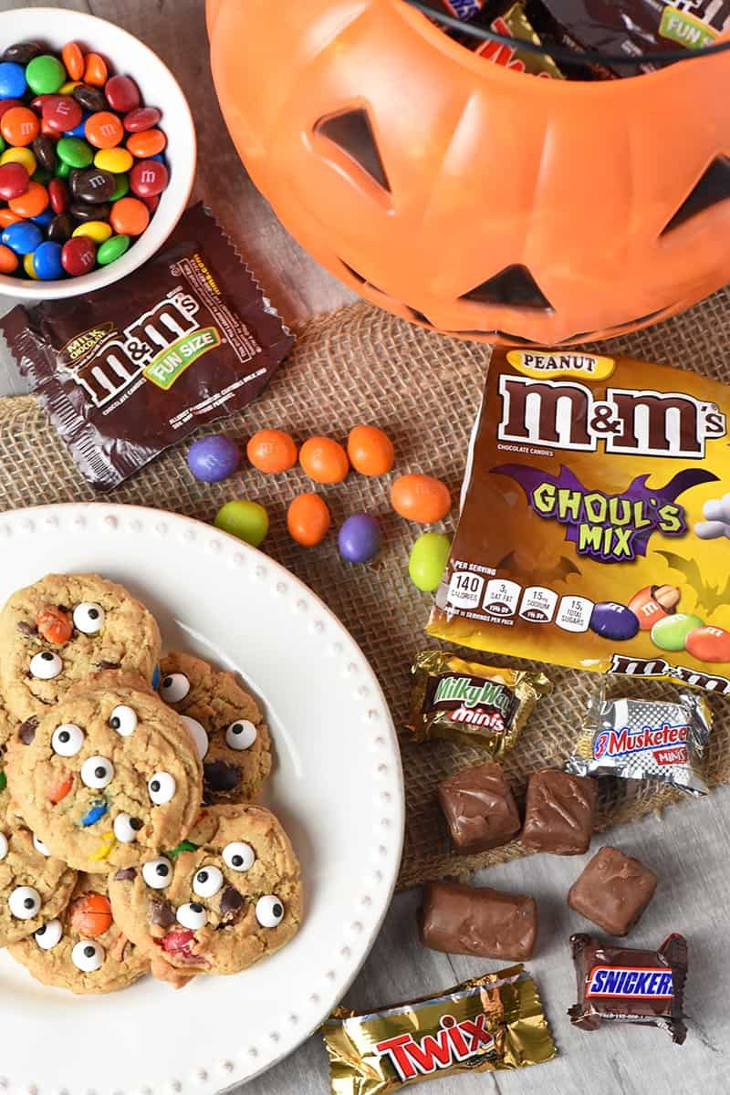 monster cookies recipe made with Mars Seasonal Halloween Candies like M&M'S and SNICKERS