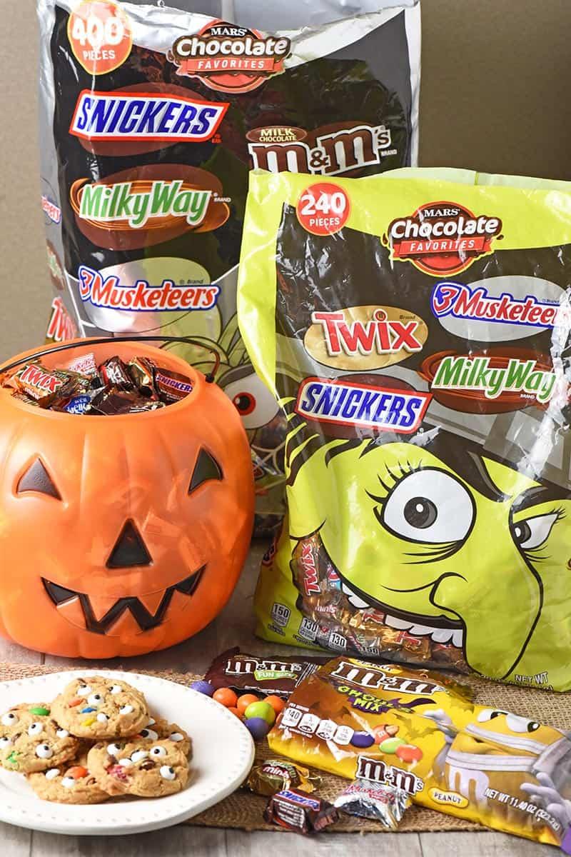 Mars Seasonal Halloween Candies used in monster cookies recipe Halloween cookies