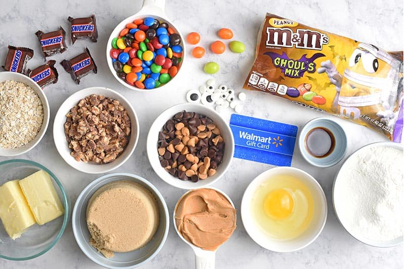 ingredients for monster cookies including Mars Halloween candy from Walmart